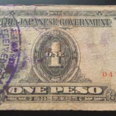 Bancnota istorica 1 Peso - FILIPINE INVAZIE JAPONEZA, anul 1942 *Cod 571 RARA - bancnota asia