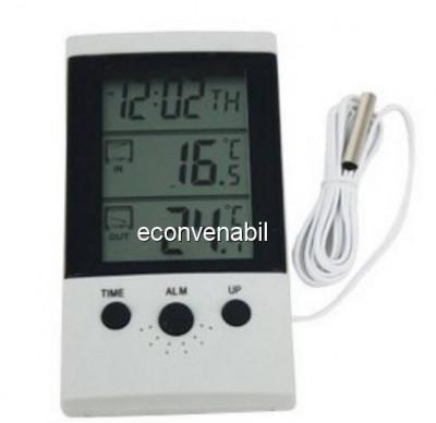 Termometru Digital cu Ceas si Alarma WSD2B foto