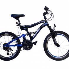 Bicicleta copii UMIT Albatros, culoare negru/albastru, full suspensie, roata 20