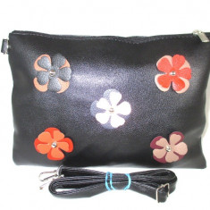 Geanta/plic dama neagra piele ecologica cu floricele+CADOU - Geanta Dama, Culoare: Din imagine, Marime: Medie