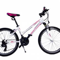 Bicicleta MTB UMIT Mirage V Lady, culoare alb/roz, roata 26