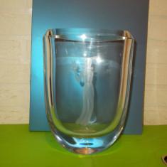 Impresionanta VAZA ART DECO lucrata manual din CRISTAL MASIV, perete 12, 5 mm - Vaza sticla
