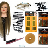 Set kit frizer coafura complet MAGIC BLOND cap practica manechin agrafe ace coc