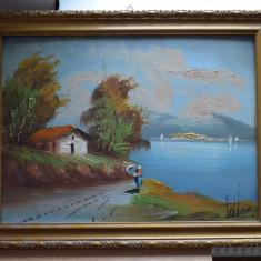 Tablou vechi pictat si semnat / Pictura veche semnata / Tablou pictat, Peisaje, Ulei, Realism