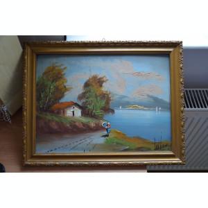 Tablou vechi pictat si semnat / Pictura veche semnata / Tablou pictat