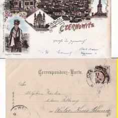 Cernauti, Bucovina - litografie 1898-editura Leon Konig - Carte Postala Bucovina pana la 1904, Circulata, Printata