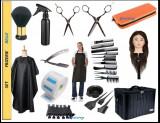 Set kit frizerie coafor complet BELLE geanta echipata cap practica par natural
