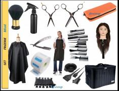 Set kit frizerie coafor complet BELLE geanta echipata cap practica par des foto