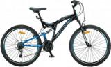 """Bicicleta MTB Full Suspensie UMIT Octagon ,culoare negru/albastru ,roata 26"""" , oPB Cod:2637100002, 21"""