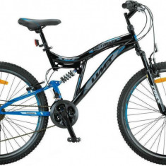 Bicicleta MTB Full Suspensie UMIT Octagon, culoare negru/albastru, roata 26