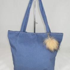 Geanta dama albastra mare cu accesoriu puf+CADOU