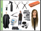 Set kit frizerie coafura complet JASMIN cap practica blond natural brici manta