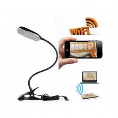 Camera Wi-Fi ascunsa in Lampa de birou Full HD + Detectie la miscare si Alarma!