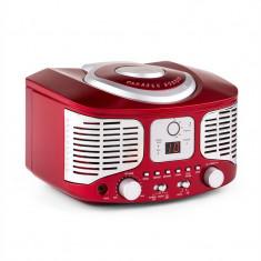 Auna RCD320, CD player retro, FM, AUX, roșu
