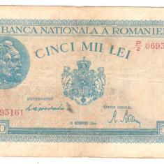 SV * Romania 5000 5.000 LEI 1944, 10 octombrie - Bancnota romaneasca