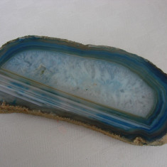 Impresionanta felie de agat slefuit pe nuante de albastru - Fosila roca, Agata