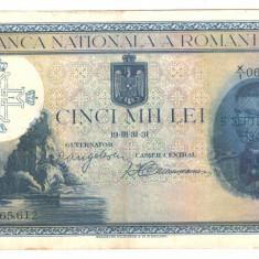 SV * Romania 5000 LEI 1931 SUPRATIPAR 6 SEPTEMBRIE 1940 XF+ / -AUNC - Bancnota romaneasca