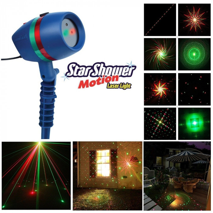 PROMOTIE! LASER EXTERIOR STAR SHOWER MOTION LIGHT,LASER CU MULTIPLE PROIECTII 3D