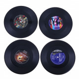 Set suport pahare / coaster cu aspect de disc de vinil / pick-up / turntable