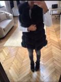 Vesta din blana naturala de vulpe neagra S M