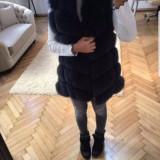 Vesta din blana naturala de vulpe neagra S M - haina de blana