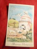 Ilustrata  Felicitare de Paste- Cutie Postala -Ou cu miei 1953