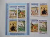 Bloc serie timbre fauna animale nestampilate Tanzania timbre filatelice postale, Nestampilat