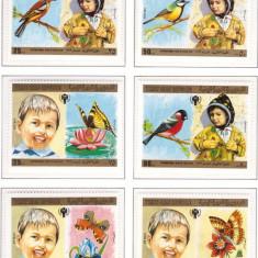 Yemen Nord 1980 - Copii, pasari, fluturi serie neuzata - Timbre straine