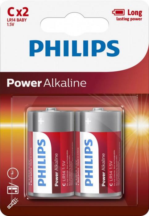 Philips Power Alkaline C 2-blister foto mare