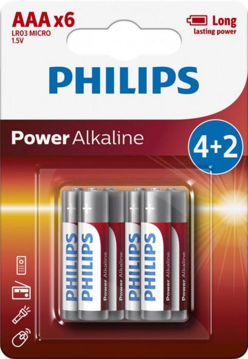 Philips Power Alkaline AAA 4+2-blister PROMO foto mare