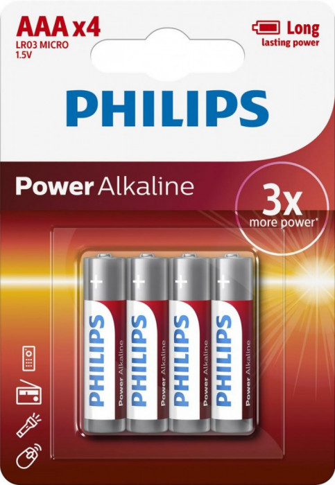Philips Power Alkaline AAA 4-blister foto mare