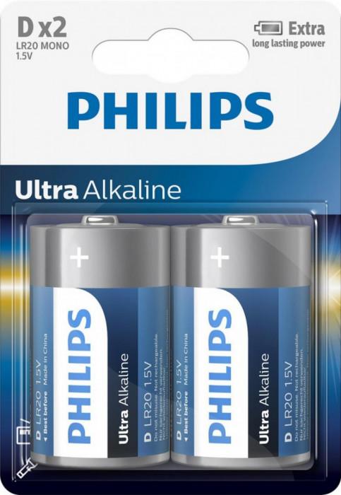 Baterii Philips Ultra Alkaline D 2 buc foto mare