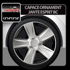 Capace ornament jante Esprit BC 4buc - Argintiu/Negru - 15' Profesional Brand - Capace Roti, R 15