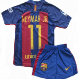 Compleu Echipament Fotbal FC BARCELONA NEYMAR MODEL 2017 copii 4-6 ani, Marime: YXS, Set echipament fotbal