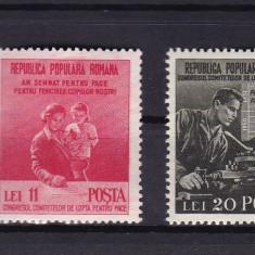 ROMANIA 1950, LP 270, LUPTA PENTRU PACE SERIE MNH - Timbre Romania, Nestampilat