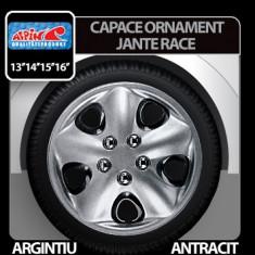 Capace ornament jante Race 4buc - Argintiu/Antracit - 13' Profesional Brand - Capace Roti, R 13
