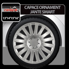 Capace ornament jante Smart 4buc - Argintiu - 14' Profesional Brand - Capace Roti, R 14