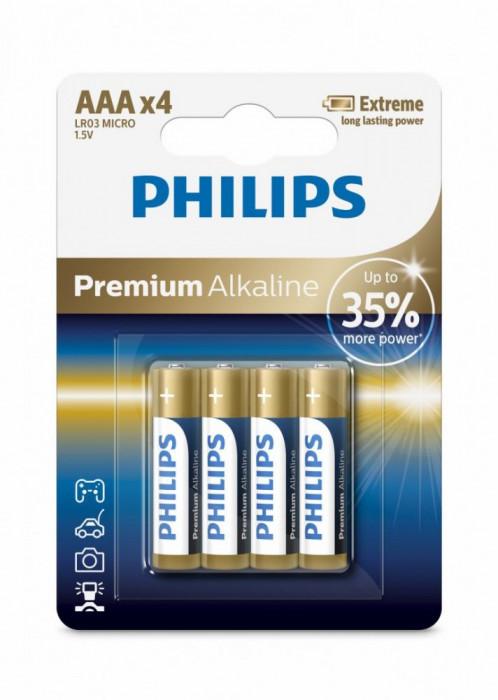 Philips Premium Alkaline AAA 4-blister foto mare