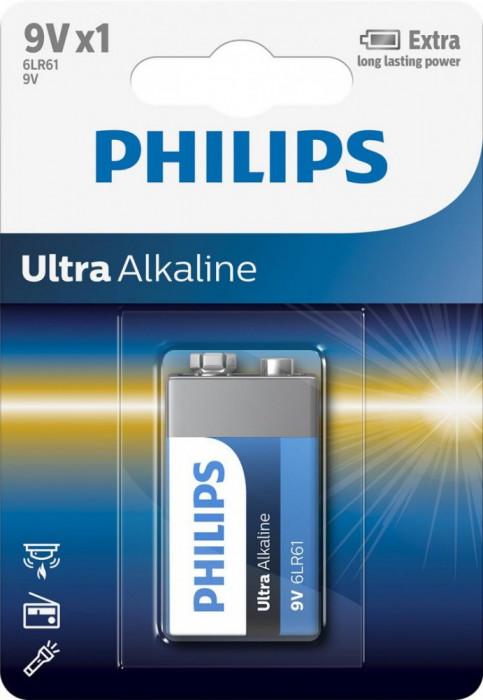 Baterie Philips Ultra Alkaline 9V, 1 buc foto mare