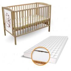 Patut 2 Ursuleti + Saltea Cocos cu Hrisca - Patut lemn pentru bebelusi First Smile