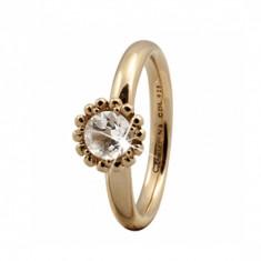 Inel, Crystal Flower, Argint placat cu Aur Galben 18k, Marimea 53