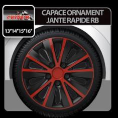 Capace ornament jante Rapide RB 4buc - Rosu/Negru - 16' Profesional Brand - Capace Roti, R 16