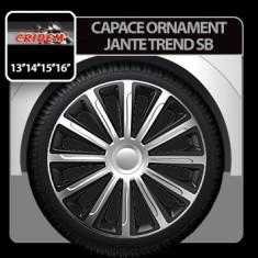 Capace ornament jante Trend SB 4buc - Argintiu/Negru - 16' Profesional Brand - Capace Roti, R 16