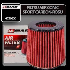 Filtru aer conic sport 4Cars - Carbon/Rosu Profesional Brand - Filtru aer sport