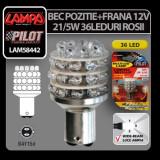 Bec Multi-Led 36Led 12V Pozitie+Frana - P21/5W BAY15d - Rosu Profesional Brand - Led auto