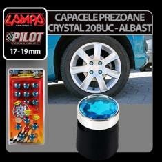 Ornamente prezoane crystal 20 buc - Hex 17 mm - Albastru Profesional Brand - Prezoane Auto