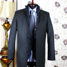 Palton barbati, gri, Slim Fit, Ucu Dima (Culoare: Gri, Marime palton: 54)