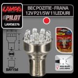 Bec Multi-Led 11Led 12V Pozitie, Frana - P21/5W - BAY15d - Rosu Profesional Brand - Led auto
