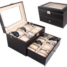 Cutie pentru 20 de ceasuri din piele ecologica Ideal Gift - Cutie Ceas