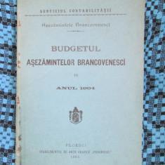 ASEZAMINTELE BRANCOVENESCI - BUDGETUL PE ANUL 1904 (PLOESCI - 1904)